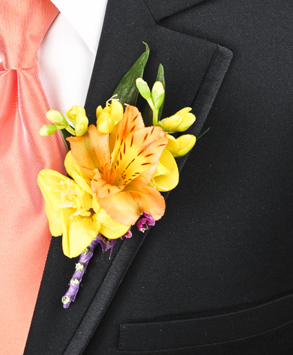 This bright yellow boutonniere is great with the yellow flower and accent of purple ribbon.