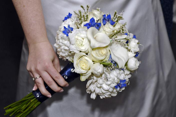 White Calla and Blue Delphinium Bouquet