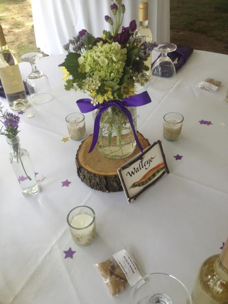 Adirondack Centerpieces -  Wood Charger and Ball Jar